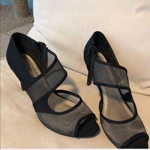 """3"""" Mesh Black Heels Open Toe Sexy"""